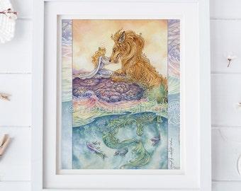 Strength tarot art print, Dragon art print, Lion, tarot art, Lion, Sea serpent, Art Nouveau, love and compassion 8x10