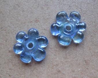 Lampwork Beads - SueBeads - Disc Beads - Disc Flowers - Blue Cut Disc Flower Bead Pair - Handmade Lampwork Beads - SRA M67