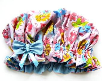 Satin Bonnet for hair with flower print and blue bow Double-side satin sleep cap Large Bonnet Silk head scarf Pink Luxury silk cap