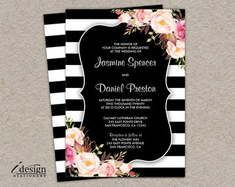 Floral Wedding Invitation | Printable Botanical Black And White Stripe Wedding Invite With Pink Watercolor Flowers | Elegant Invitations