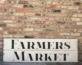 Large Wooden 5' Farmers Market Sign - distressed, painted, stained - Kitchen Sign Decor