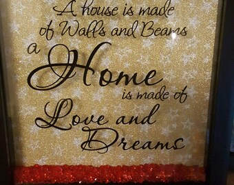 "Handmade frame 8"" x 8"", background colour choices, Lovely for the home but also make nice gifts, new home, Birthday,friend"