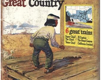 "Santa Fe Trains vintage ad great trains 10"" x 7"" reproduction metal sign"
