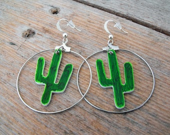 Cactus earrings green hoops Mexico was shrink plastic