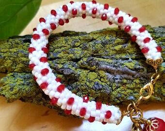 White and Red Crochet Bracelet