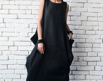 SALE Maxi Linen Dress/Black Linen Kaftan/Plus Size Maxi Dress/Long Sleeveless Dress/Everyday Casual Dress/Loose Evening Comfortable Black Dr