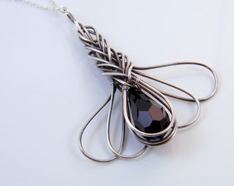 Black Crystal Pendant Necklace Wire Wrapped in Oxidized Sterling Silver; One of a Kind Design Anniversary gift for her; workplace Jewelry