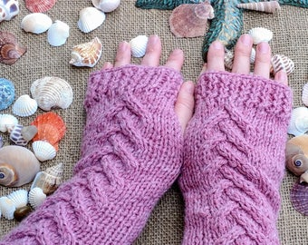Free Shipping/ Chevron Cabled/ Wool Blend/ Fingerless Gloves/ Arm Warmers/ Wristlets/ Made in USA/ Ready to Ship