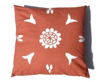 Orange Pillow 20x20 Moroccan Suzani African