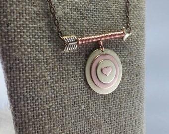 Arrow Necklace, Arrow Jewelry, Copper Jewelry,  Mixed Metal Jewelry, Mixed Metals Necklace, Metalwork Necklace, Metalwork Jewelry