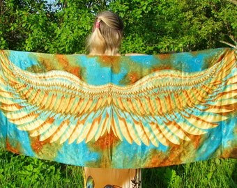 Wings Silk scarf, wrap sarong. Hand painted Silk Shawl 'Turquoise Golden wings'. Batik Hand painted Silk scarf.