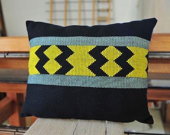 Handwoven cushion cover / Cotton Linen Wool / Weaving