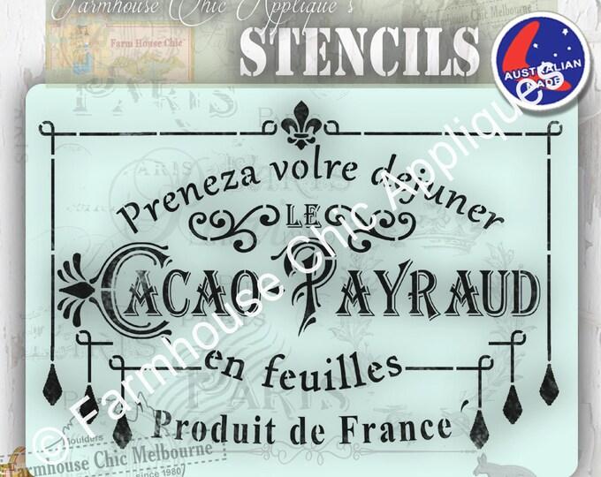 Mylar Furniture Stencil, Cacao Payraud Stencil, French Vintage Stencil, Artist Stencil, Cake Stencil, Wall Stencil,  #CacaoPayraudStencil