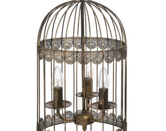 Black Birdcage Chandelier with Gold Brush Effect  - 16178
