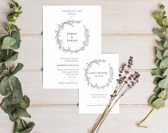 Printable Wedding Invitation - Wedding Invite - Minimal - Simple - Modern - PDF