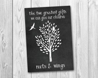 Chalkboard sign, roots and wings, playroom decor, nursery decor, instant download