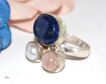 Ring trio of lapis lazuli, Moonstone, rock crystal and Silver 925 - size 50 - after the beach