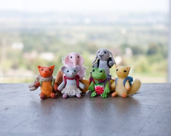 Miniature backpack Felt bag for all UnderUmbrelland's miniature toys matchbox art Back to school dollhouse miniature
