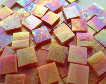 "Mosaic Tiles - 100 1/2"" Squares - Iridescent Orange Stained Glass - Hand-Cut"
