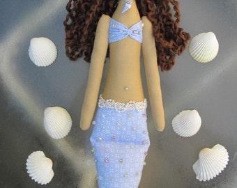 Mermaid doll handmade fabric doll blue lilac softie plush cloth doll art doll brunette Mermaid rag doll nursery decor  gift for girl and mom