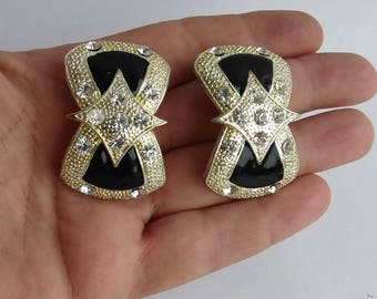 Chunky Runway Black Enamel Rhinestone Silver Clip On earrings, Statement, Runway Earrings, Vintage Costume Jewelry