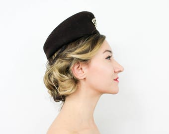 40s Brown Wool Hat | Brown Wool Felt Hat | Tilt Hat | New York Creations