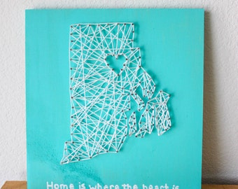 Home is where the Heart is string art, State String Art, String Art, Nail and String Art, Custom String Art, Wooden Sign, Rustic Sign