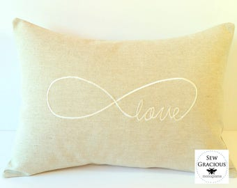 Infinity Sign Love Pillow Cover. I LOVE You FOREVER Embroidered Wedding or Anniversary Gift made to fit a 12x16 pillow. Farmhouse Decor
