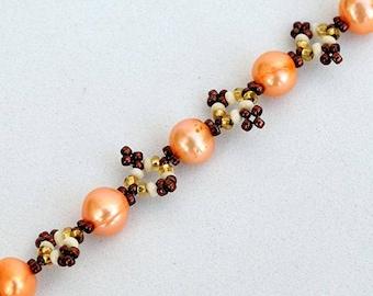 Delicate bracelet with orange pearls Bead woven chain bracelet with real soft orange pearls Delicate real pearls bracelet В156