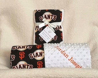 Baby Blanket Toddler SF Giants Minky Name Embroidered Gift Set Large Minky PERSONALIZED Baby Boy Girl Yankees Royals Astros Mets Pirates