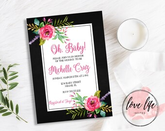 Oh Baby! Floral Baby Shower Invitation | Pink Floral Baby Shower Invitation | Floral Baby Shower Invitation | Boho Baby Shower Invitation