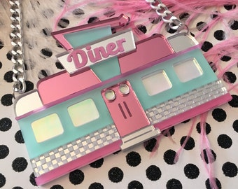 Retro Diner Seafoam and Mirrored Pink Necklace, Laser Cut Acrylic, Plastic Jewelry