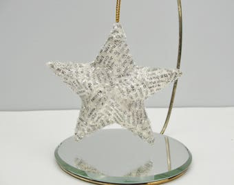 Vintage dictionary star ornament