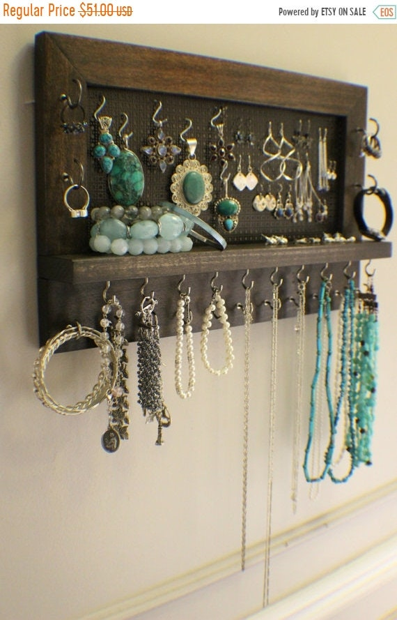 ON SALE Kona Stained Wall Mounted Jewelry Organizer Wall