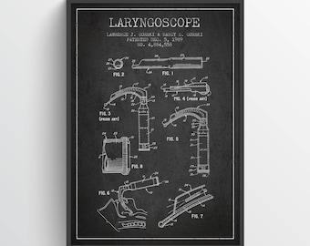 1964 Laryngoscope Art Print, Medical Patent, Laryngoscope print, Laryngoscope Poster, Wall Art, Home Decor, Gift Idea, ME11P