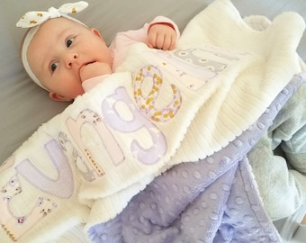 Monogrammed Baby Blanket in PRECIOUS; Lilac, Pink, Gray and Gold Fabric Letters with White Chenille and Soft Minky for Baby Girl