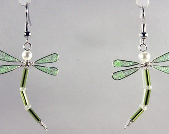 Glittery neon green Dragonfly earrings / white