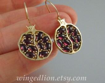 POMEGRANATE garnet 14k yellow gold earrings