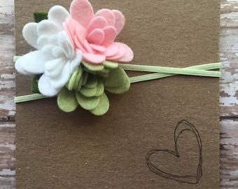 Wool Felt Flower Trio Headband, Baby Headband, Newborn, Spring