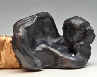 Abstract Figurative Sculpture Sleeping Buddha Figure at Rest Raku Ceramics