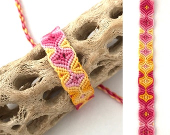 Friendship bracelet - sleeping tikis - tribal - embroidery floss - macrame - knotted - handmade - woven - pink - yellow - braided