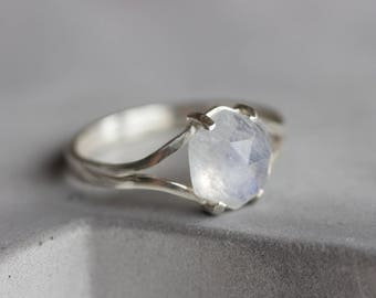 Solitaire Moonstone ring with hexagon Rainbow Moonstone gemstone, sterling silver