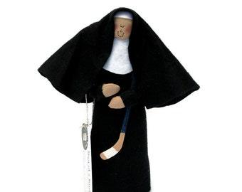 Funny Nun doll,  hockey playing woman, Catholic humor gift, hockey player, sports fan, hockey stick, hockey fan, Sister Maria Lemieux