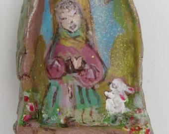 Virgin Mary Shrine Pocket, Blessed Mary Miniature Altar,OOAK Blessed Mother Art, Mix Media Mary Shrine, Whimsical Virgin Mary Nursery Decor
