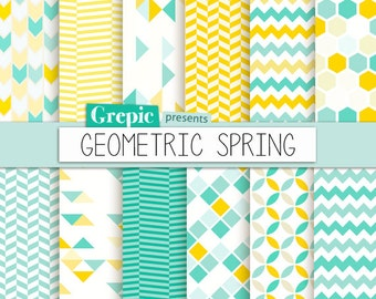 """Geometric digital paper: """"GEOMETRIC SPRING"""" digital paper pack with yellow and teal / turquoise geometric patterns and backgrounds"""