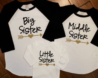 Big Sister Shirt, Middle Sister Shirt, Little Sister, Big Sister Shirts, Sister Shirts,New Baby, Pregnancy announcement,Big Sister, Sisters