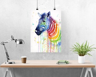 Zebra Art Watercolor Painting, Art Print, Rainbow Zebra, Ode to Fruit Stripes; Home Decor