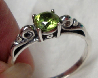 Peridot ring in sterling silver - custom size Fair Trade, eco-friendly recycled- August birthstone - Purity and Morality