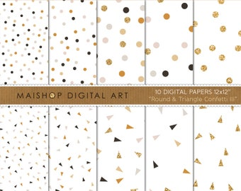 Digital Paper 'Round & Triangle Confetti III' Gray, Dawn Pink, Ochre and Gold Printable Papers for Scrapbook, Cards, Design, Invites...