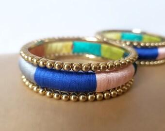 Metal Bracelets for women Indian wedding Bangles set Multicored Bridesmaids gift Silk thread boho Bangle Stacking bracelet Bridal jewelry